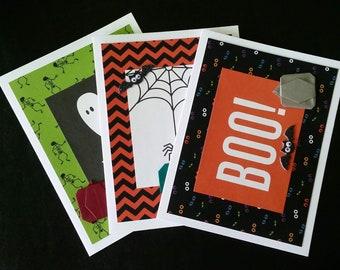 Spooky Halloween Card Set: 3 Halloween Cards with Origami Pumpkins - Googly Eye Bats - Glitter - Blank Cards - Boo - Spider - Ghost - Web