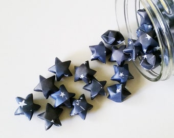Constellation Paper Stars: Celestial - Outer Space - Galaxy - Deep Space - Navy Blue - White - Mini Stars - Origami Star Decorations