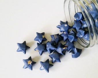 Celestial Origami Stars: Cosmic - Night Sky - Deep Space - Cosmos - Navy Blue - Gold - Brown - White - Mini Stars - Star Decorations