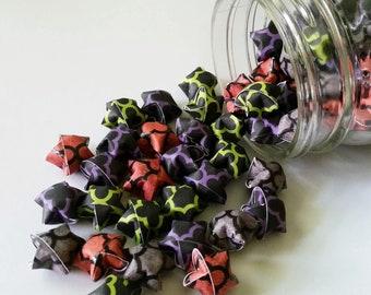 Clover Halloween Origami Star Mix: Orange Green Purple Grey Black - Mini Star Decorations - Folded Paper - Halloween Mix - Moroccan Tile