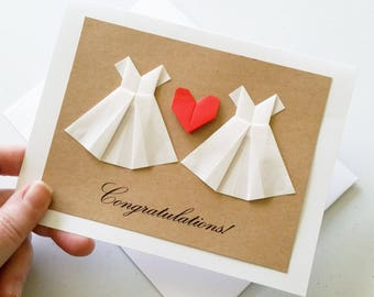 Congratulations Wedding Card: Handmade Lesbian Wedding Card - 3D Heart White Dress - Mrs & Mrs - Minimalist Origami - Free Shipping Tracking