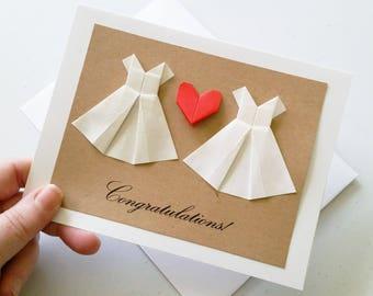 Origami Wedding Card: Congratulations - Handmade Lesbian Wedding Card - 3D Wedding - Cream Dress - White Dress - Mrs & Mrs - Minimalist