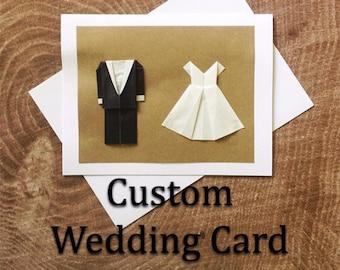 Custom Origami Wedding Card: Minimalist Wedding Card - Custom Wedding Card - Minimalist Card - 3D Card