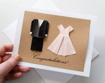 Minimalist Wedding Card: Congratulations - Origami Wedding Card - Black Suit Baby Pink Dress - Mr and Mrs - 3D Card - Free Shipping Tracking