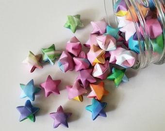 Rainbow Gemstone Origami Stars: Pink - Yellow - Orange - Green - Blue - Purple - Mini Star Decorations - Folded Paper - LGBT Party
