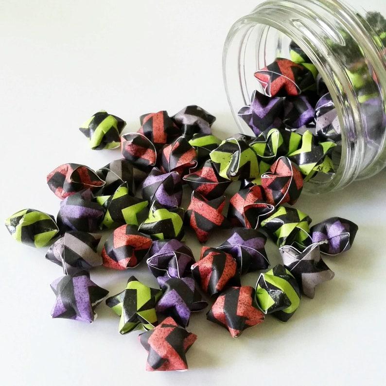 Mini Star Decorations Chevron Stripe Folded Paper Chevron Halloween Origami Star Mix: Orange Green Purple Grey Black Halloween Mix