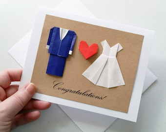 Minimalist Wedding Card: Congratulations - Origami Wedding Card - Navy Suit - White Dress - Mr and Mrs - 3D Card - Free Shipping - Tracking