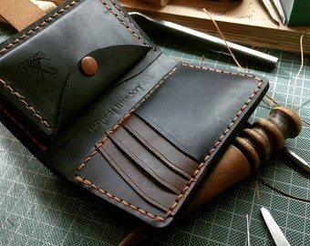 Personalized Leather Wallet,Minimalist Leather Wallet, Slim Leather Wallet,Handmade Leather Wallet, Leather Billfold Wallet