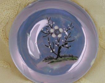 Set of 2 Porcelain Children's Tea Set Plates Made in Japan, Lusterware Periwinkle Blue Tea Set Plates