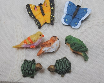 Tiny Butterflies, Birds and Turtles  Figures for Decorating, Embellishments  Lot #48