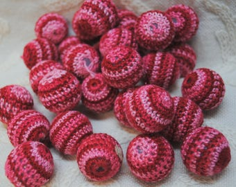 Raspberry Pink Crocheted Beads Lot of 14 Beads
