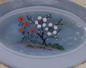 Porcelain Children's Tea Set Platter Made in Japan, Lusterware Periwinkle Blue Tea Set Plates