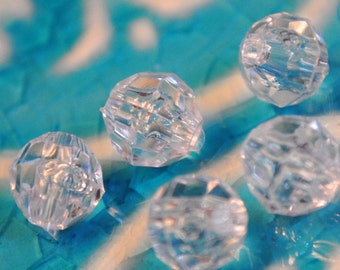 Crystal Clear Faceted Acrylic Beads  Six ounces of Beads  For Snowflake and Winter Crafts