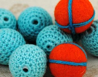 Small Orange Felted Balls and Aqua Crocheted Beads   Lot #63