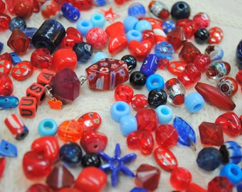 Large Collection of Red White & Blue Beads  Lot #25