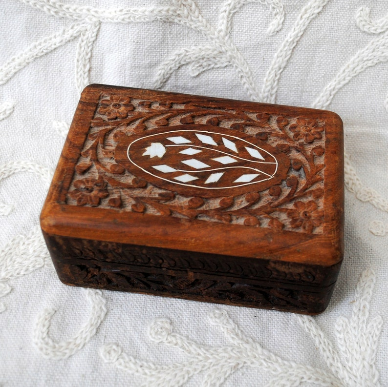 Vintage Carved Wood Box with Inlay Jewelry Box