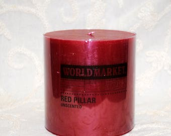 Cranberry Red 4 Inch tall x 4 Inch diameter Pillar Candle New