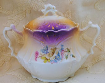 Porcelain Covered Candy Dish or Sugar Bowl Lavender and Gold Floral