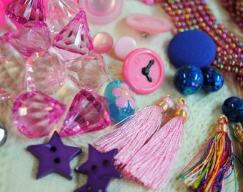 Jewelry Lot #6:  Hot Pink Beads, Buttons & Bits Collection