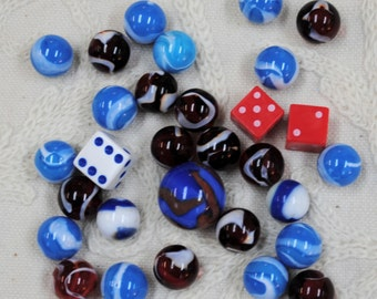 Red, White & Blue Glass Marbles and Dice for Games, Mosaic, Crafts