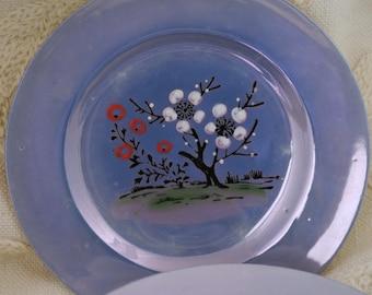 Set of 6 Porcelain Children's Tea Set Plates Made in Japan, Lusterware Periwinkle Blue Tea Set Plates