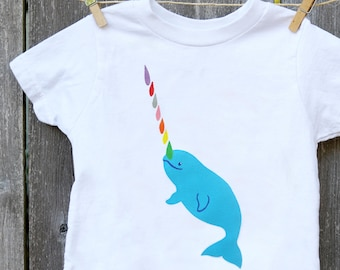 Rainbow Narwhal Shirt for Kids / Narwhal T-shirt / Rainbow Kid Shirt / Unisex Whale T-shirt / Unisex Kids Clothes / Narwhal Kids Shirt