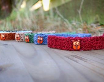 Baby Crochet Headband / Owl Headband / Unisex Baby Gift / Woodland Creatures Theme, Newborn Headband, Gender Neutral Infant Headband
