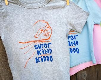 Super Kind Kiddo Boy T-Shirt, Kindness T-Shirt for Boys, Gender Stereotype Busting Clothes for Boys, Toddler Boy Clothes, Encouraging Slogan
