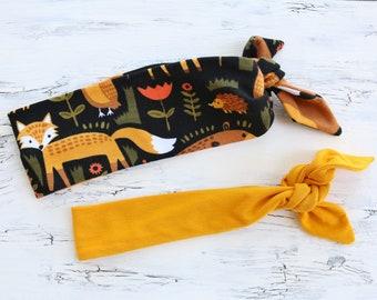 Fall Child Headband Pack / 2 Boy Hairbands, Autumn Baby Headbands, Fall Toddler Bandanas, Mustard yellow BoyBand, Kid Fabric Tie-On Headband