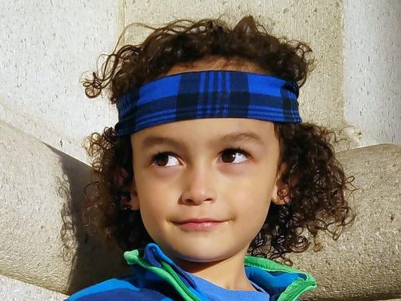 Büffel karierten Stirnband für jungen / Blue Stirnband / junge | Etsy