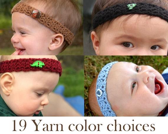 Baby Boy Headband with Hawaiian Button  BoyBandz Baby Headband  Boy Hairband  Baby Crochet Headband  Boy Band  Hawaiian Boy Accessory