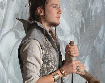 Fairy King vest, Silver Grey Nuno Felt silk waistcoat, Elf costume, Men Shamanic clothing, Lord of the Rings Cosplay, Renaissance Festival