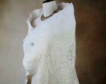 Nuno felt bridal silk shawl, Fairytale felted shawl, White Nuno felt scarf, fairy bridal wrap, pagan clothing, Goddess wedding shawl