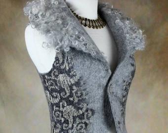 Natural Grey Waistcoat w/ Curly felted collar, Fantasy Nuno Felt vest, Renaissance Festival Clothing, Goddess vest, Fairytale wedding