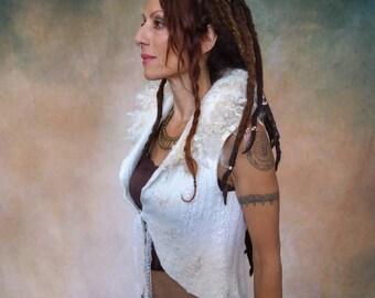 Pagan wedding Nuno felted vest with Lace,  Elven clothing, alternative bridal wear, Fantasy wedding Bolero, White Fairy Tale waistcoat