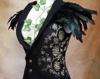 Black Nuno Felt Waistcoat with Feather collar, Corset style vest , Dark Fairy costume, Pagan clothing, Gothic fashion, Halloween costume