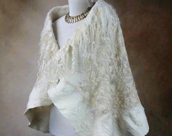 Boho bridal silk shawl, Natural white nuno felt scarf w/ curly collar, Viking style wedding accessories, Woll wrap stole, Mystical clothing