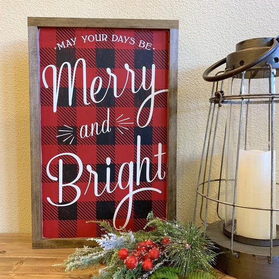 Merry & Bright Buffalo Check Sign