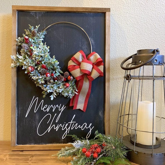 Christmas Sign With Wreath- Merry Christmas