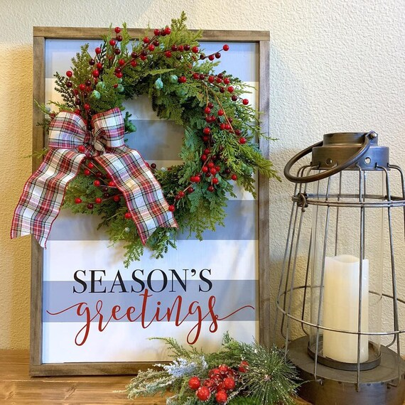 Christmas Sign With Wreath- Season's Greetings
