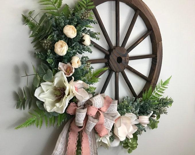 Farmhouse Wagon Wheel Wreath
