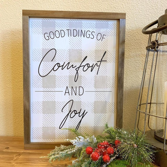 Comfort & Joy Buffalo Check Sign