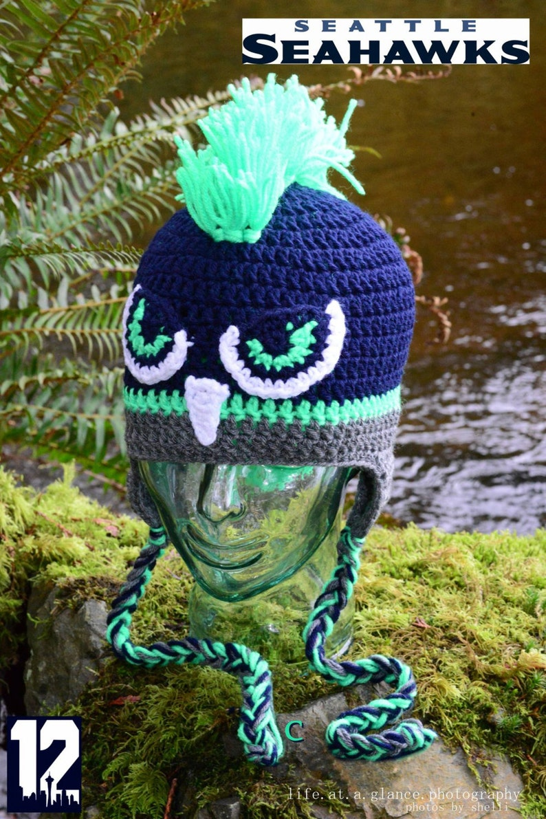 d73dd6f3 Seattle Seahawk Crochet Hat, Mohawk, 12th Man Gear, Football Hats, Seahawks  Crocheted Hats, Photo Prop, Seahawk Hat