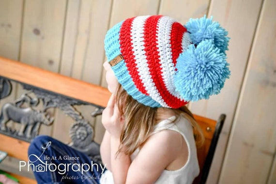 Dr. Seuss Crochet Hat Thing 1 Thing 2 Inspired by Seussical  c8c1921c087