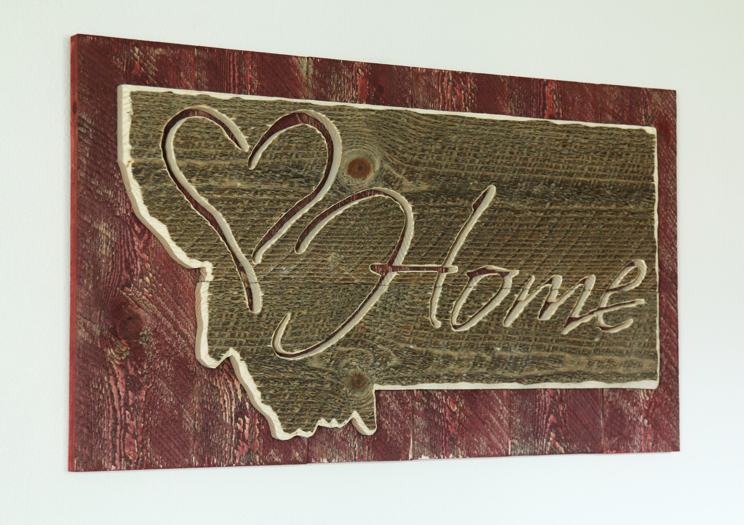 Montana Home Sign Rustic Carved Rough Sawn Sign Rustic