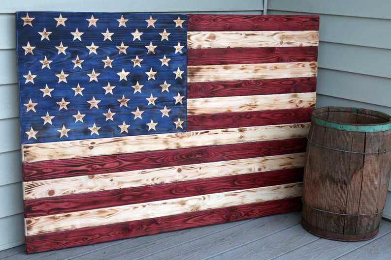283fbcd3758 Large Wooden American Flag Carved Wooden Scorched Flag