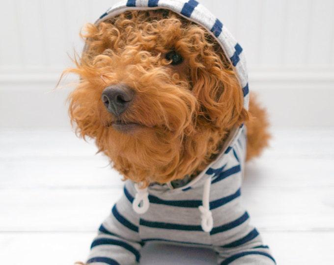 Dog Clothes, Heather Gray Navy Stripe Raglan Hoodie with Pocket