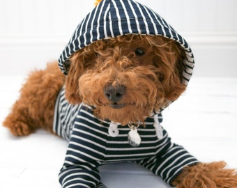 Dog Clothes Hoodie Navy Stripe with Pom Pom and Pocket