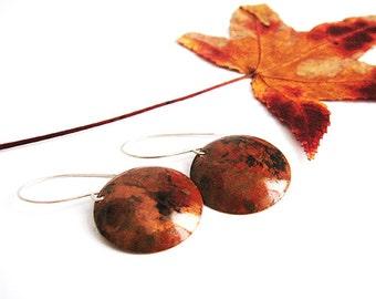 Handmade copper earrings/Organic earrings/Red earrings/Heat patina earrings