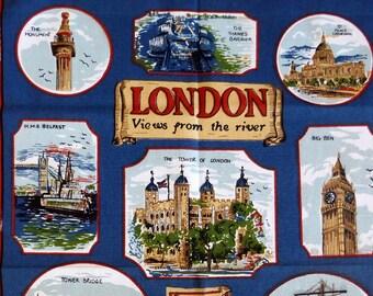 """Vintage souvenir tea towel London """"views from the river"""""""